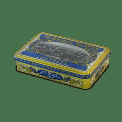 Boîte fer 12 marrons glacés enveloppés Edition 100 ans